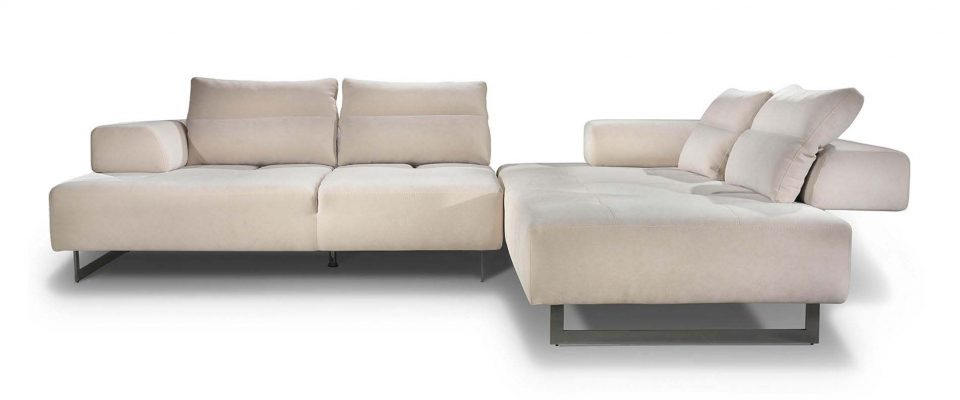 Sofa with mechanism on the backrest pads