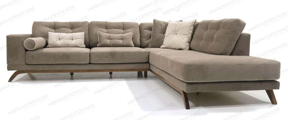 Modern sofa with wooden details