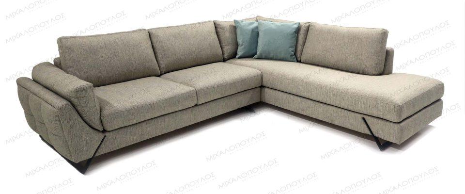 Καναπές γωνιακός με μεταλλικά πόδια