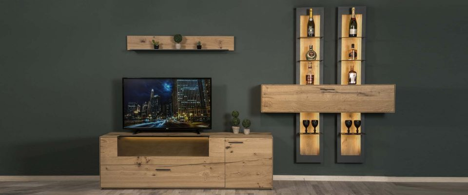 Tv unit with lights
