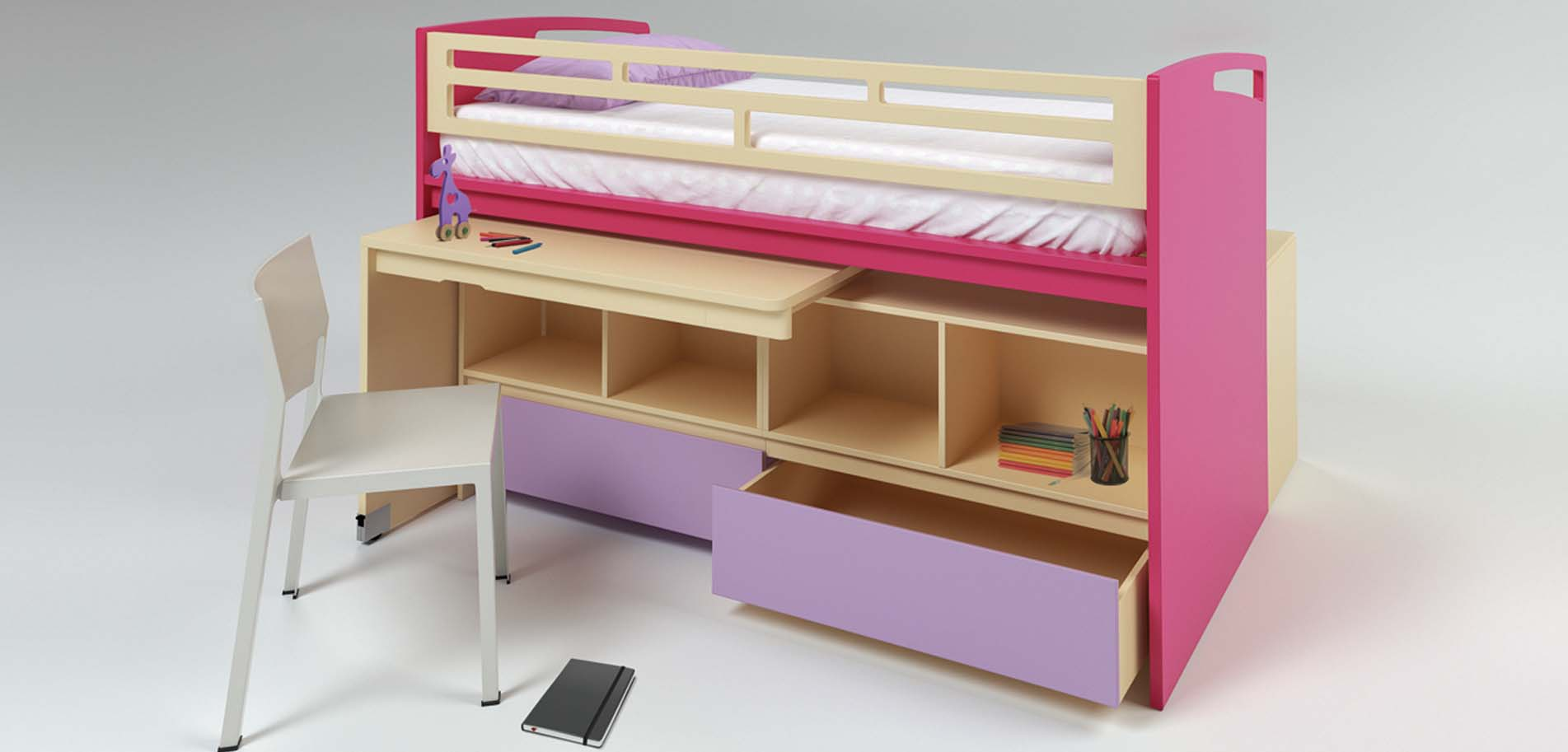 Children S Bunk Bed With Desk And Wheelchairs Drawers