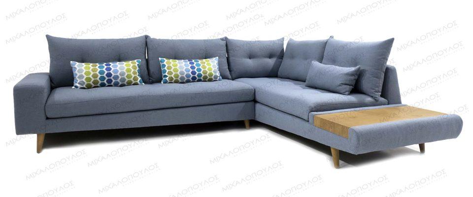 Καναπές γωνιακός με ασύμμετρες λεπτομέρειες